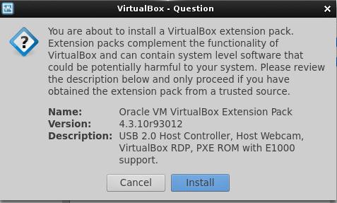 VirtualBox dialog