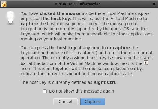 Mouse and keyboard Virtual Box Dialog