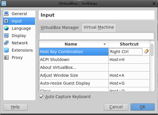 Changing VirtualBox's Host Key Preferences